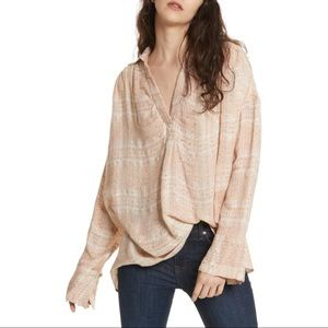 Free People pink Fearless Love Bell Sleeve Shirt